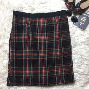 J. CREW VTG Tartan Plaid Back Pleat Skirt